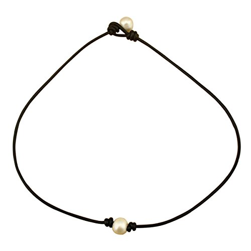 "18"" White Pearl Necklace Choker on Genuine Leather Cord ..."